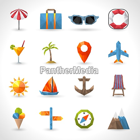 travel polygonal icons set with umbrella