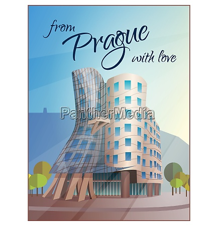 prague city views travel poster with