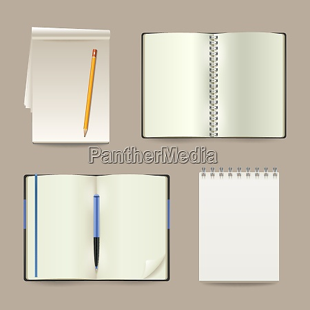 blank white open realistic paper notebooks