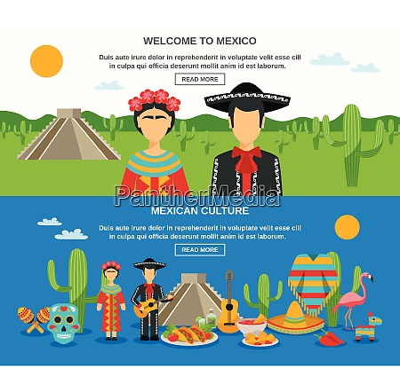 mexico banner set with colorful elements