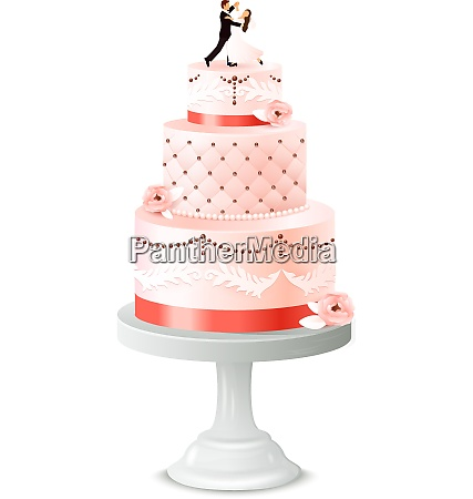 wedding cake with statuette of newlywed