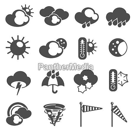 weather forecast symbols black pictograms set