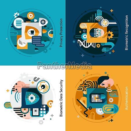biometric authentication design concept set with