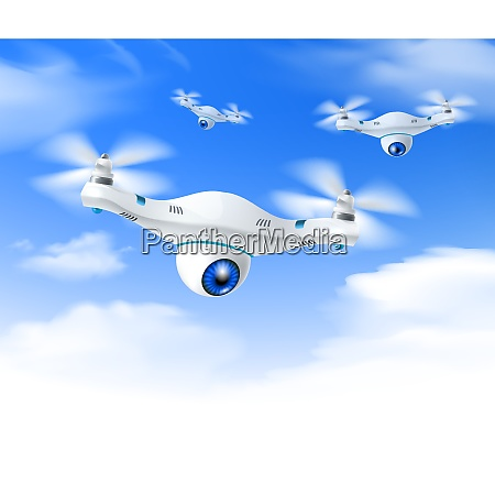 white modern surveillance drones set in