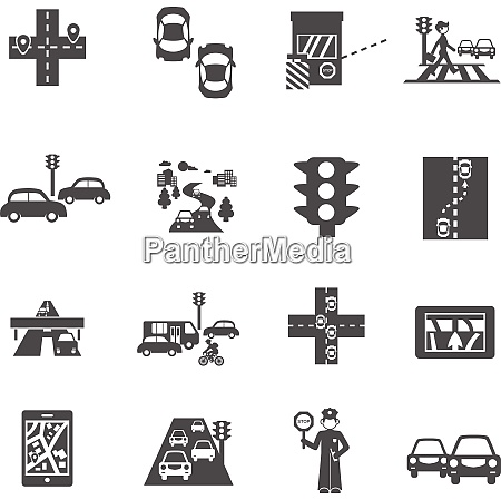 traffic icons black set with cars