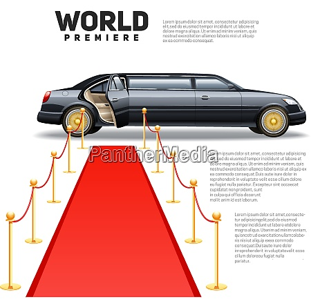 luxury limousine car and red carpet
