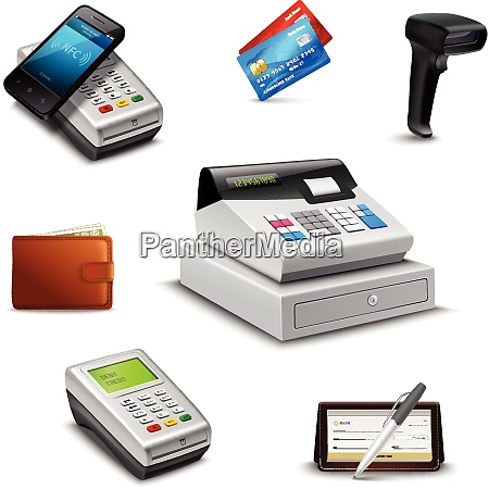 realistic payment set with cheque wallet