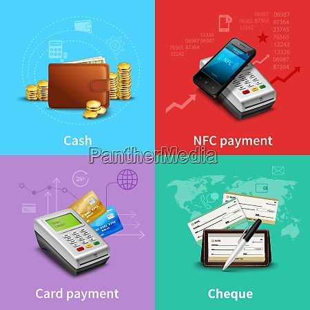 payment set with cash and card