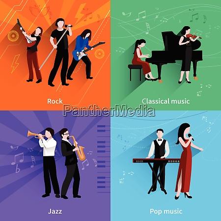 musicians design concept set with pop