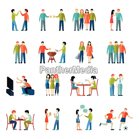 friends relationship people society icons flat