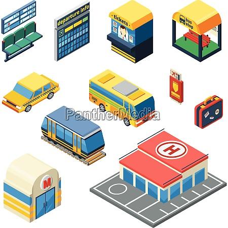 passenger transportation isometric icons set of