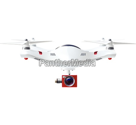 single white drone with red camera