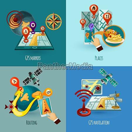 navigation design concept set with gps