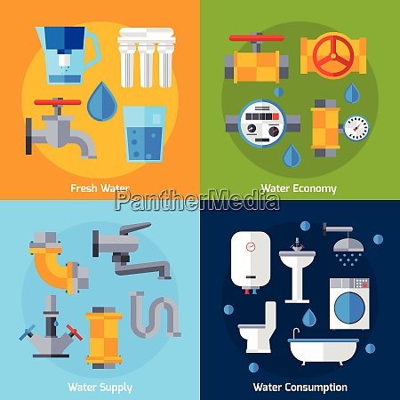 water supply design concept set with