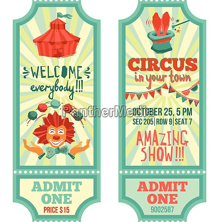 circus show advertising paper tickets set