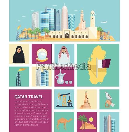 qatar culture flat icon set with