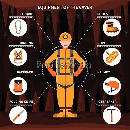 speleologists caving equipment for underground exploring