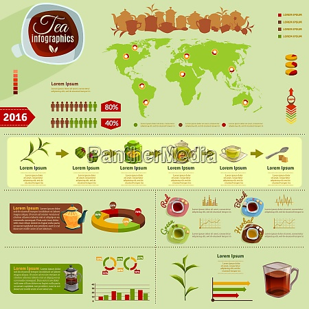 infographics with production of tea and