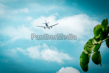 commercial airline passenger plane takes off