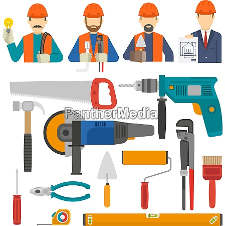 construct icons flat set with engineer