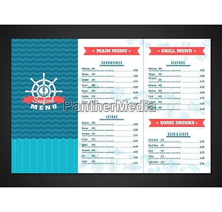 seafood restaurant menu template with fish