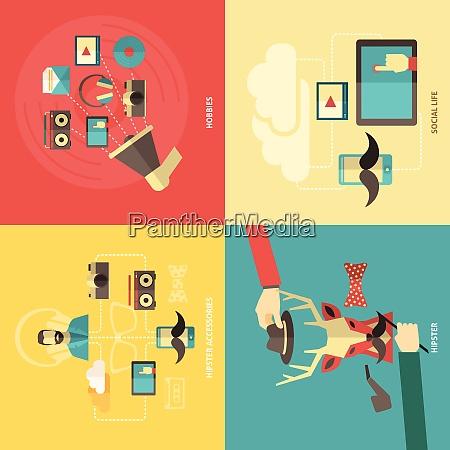 hipster design concept set with hobbies