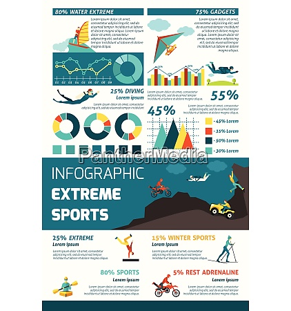 extreme sports infographics set with adrenaline