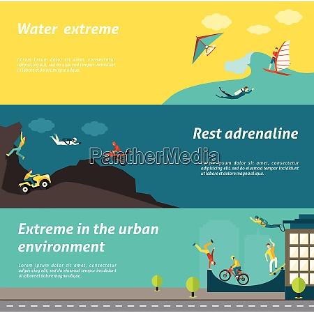 extreme sport horizontal banner set with