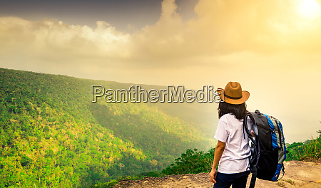 young traveling woman with backpack and