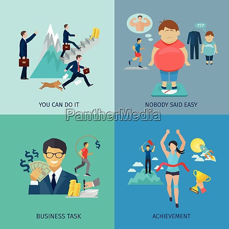 motivation design concept set with business