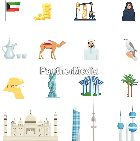 kuwait culture flat icon set with