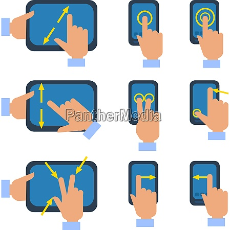 tablets and smartphones touchscreen gestures turn