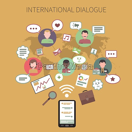international dialogue concept with chart symbols