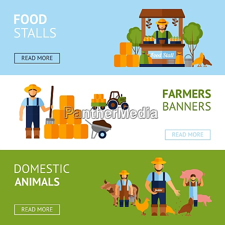 farmers horizontal banner set with domestic