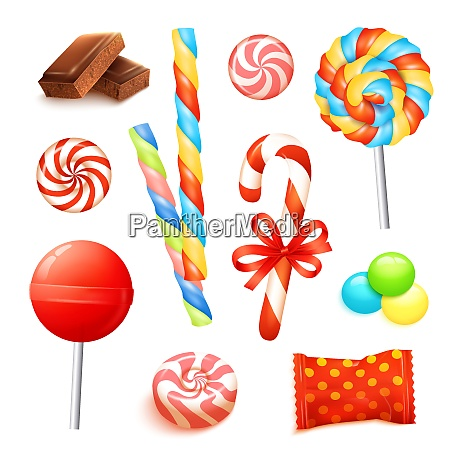 candies and sweets set with realistic
