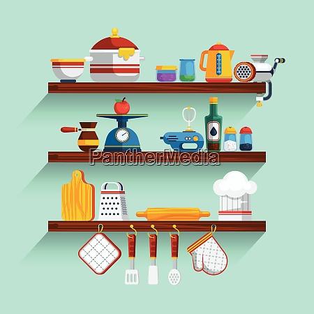 kitchen shelves set kitchen shelves vector