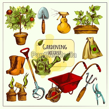 gardening tools sketch set colored with