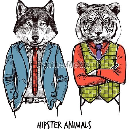 hipster animals sketch set hipster animals