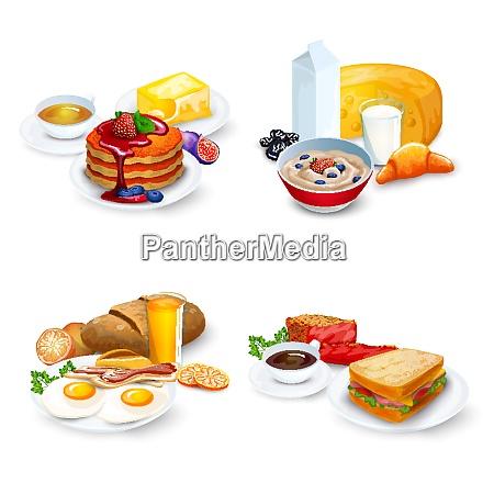breakfast compositions set breakfast vector illustration