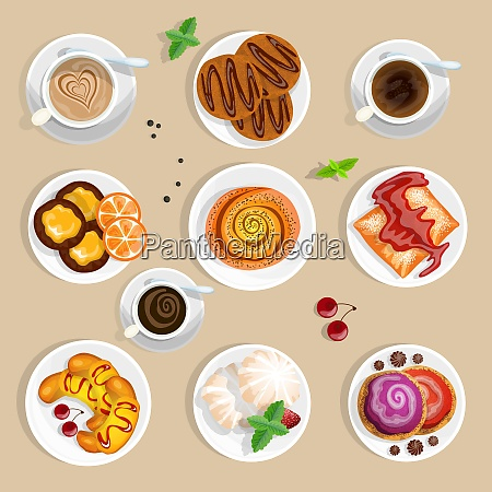 pastry top view set coffee and