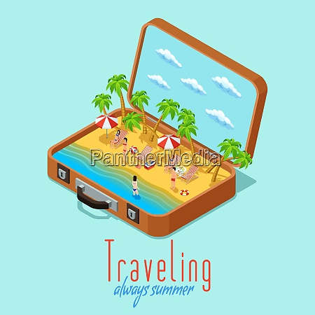 summer vacation travel isometric poster with