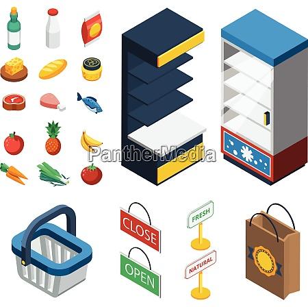 supermarket isometric icon set with isolated
