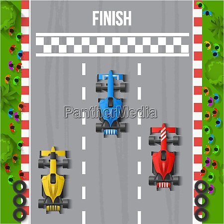 race finish top view background vector