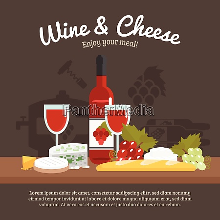 wine and cheese still life with