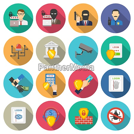 internet banking operations safety flat icons