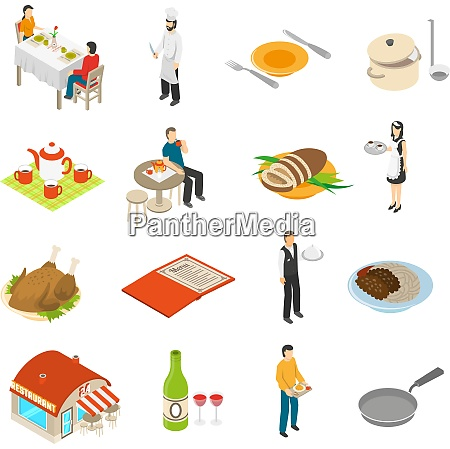 restaurant cafe bar isometric icons collection