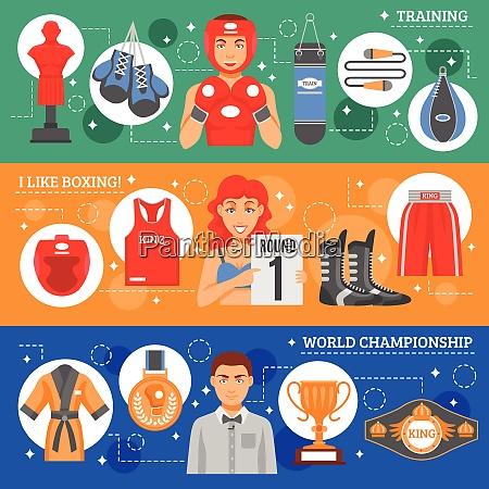sports attributes flat horizontal banners set