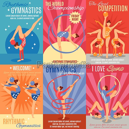 collection of six rhythmic gymnastics posters