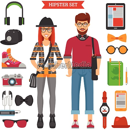 hipster couple decorative icons set with