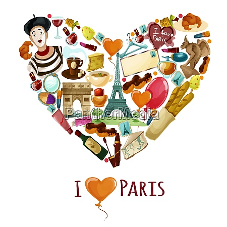 paris poster with cartoon touristic symbols